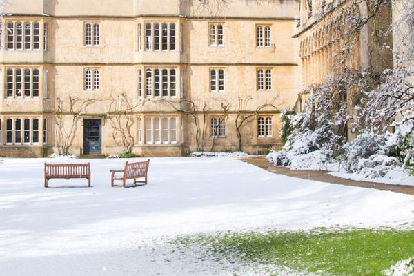 Exeter College Fellows' College in Snow