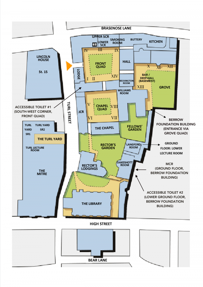 Lincoln College – College Map – Main Site (2D) – Annotated