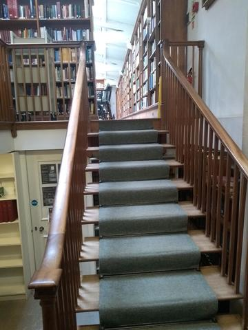 exeter college  library  interior space  stairs to 1rst floor reading room