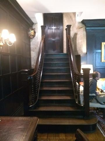 exeter college  scr  staircase to high table and door 3